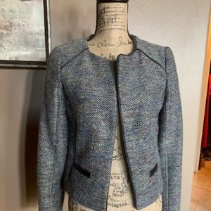 Willow&Clay Tweed Vegan Leather Piped Crop Jacket